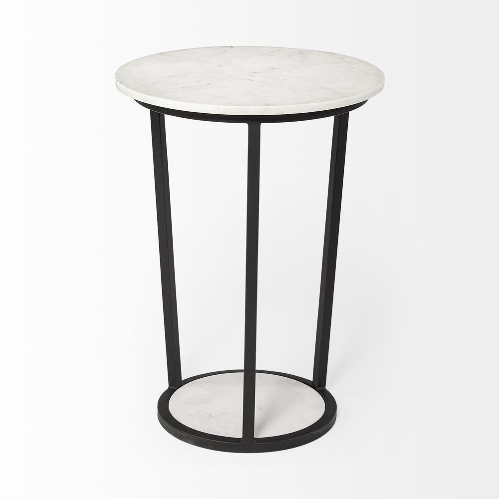 """18"""" Round White Marble Top Accent Table with Black Metal Frame - 380684. Picture 3"""
