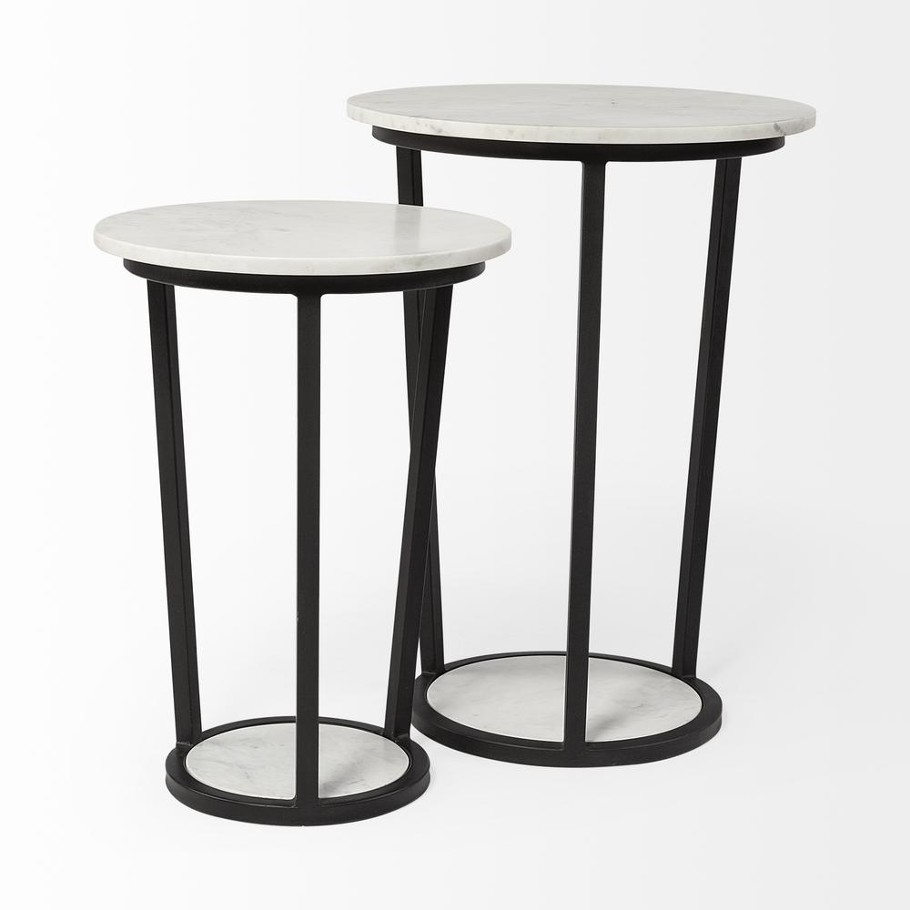 """18"""" Round White Marble Top Accent Table with Black Metal Frame - 380684. Picture 4"""