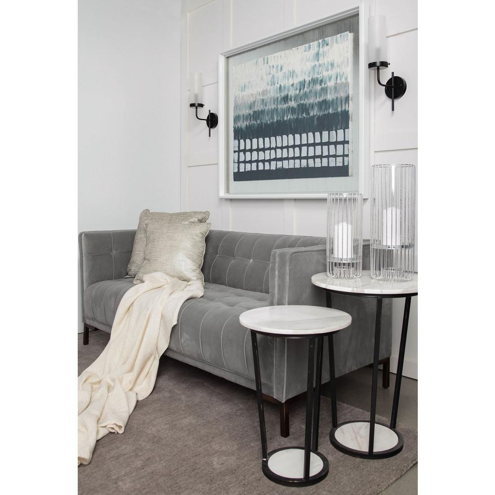 """18"""" Round White Marble Top Accent Table with Black Metal Frame - 380684. Picture 6"""