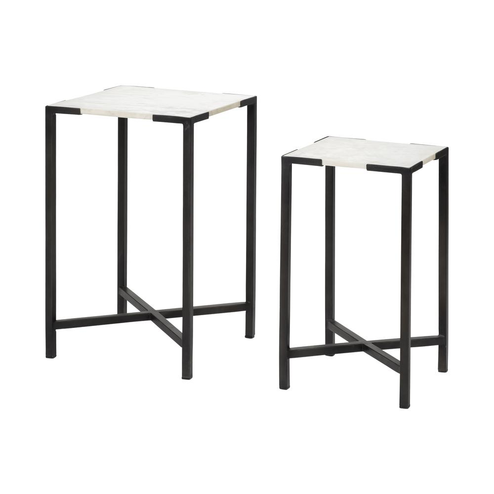 Set of 2 White Marble Square Top Accent Tables with Black Iron Frame - 380691. Picture 1
