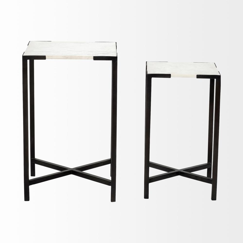 Set of 2 White Marble Square Top Accent Tables with Black Iron Frame - 380691. Picture 2