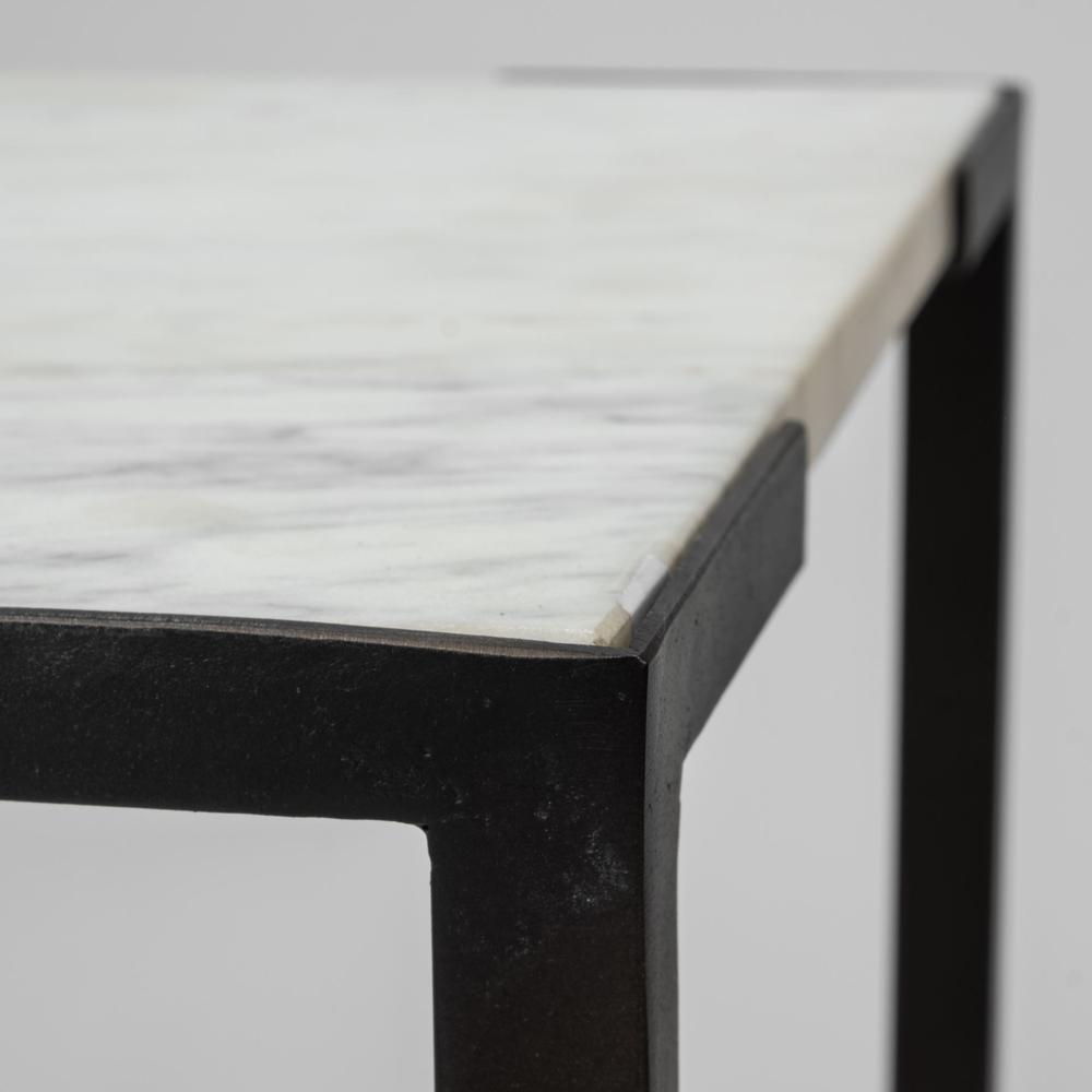 Set of 2 White Marble Square Top Accent Tables with Black Iron Frame - 380691. Picture 3