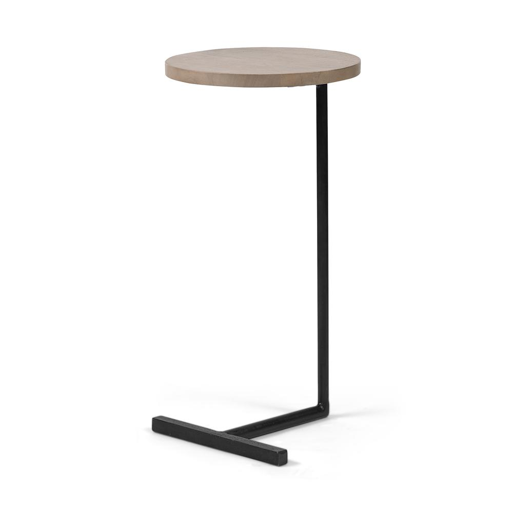 Brown Wood Round Top Accent Table with Black Iron Base - 380694. Picture 1