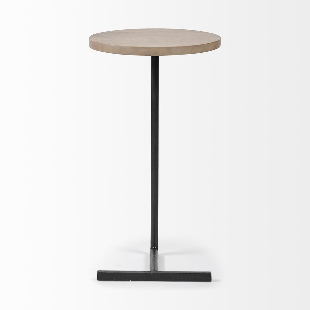 Brown Wood Round Top Accent Table with Black Iron Base - 380694. Picture 2