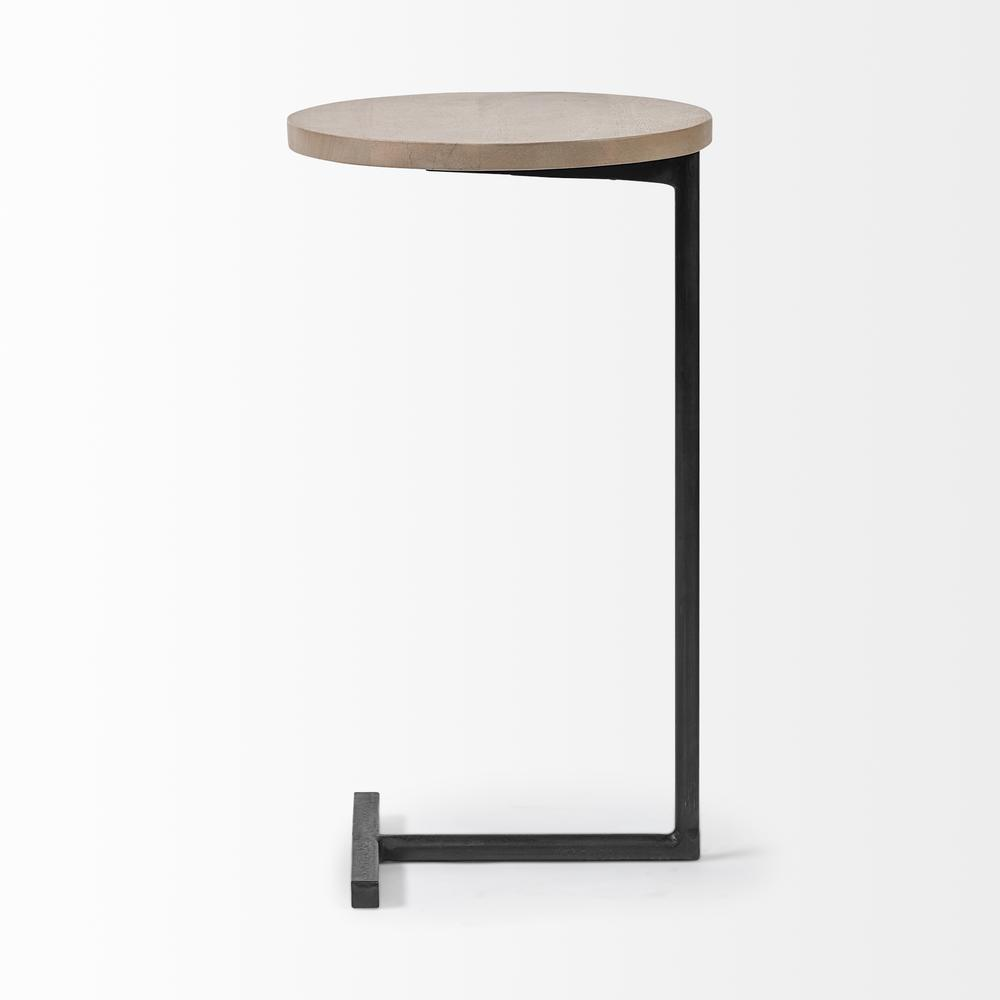 Brown Wood Round Top Accent Table with Black Iron Base - 380694. Picture 3