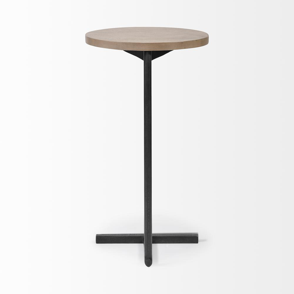 Brown Wood Round Top Accent Table with Black Iron Base - 380694. Picture 4