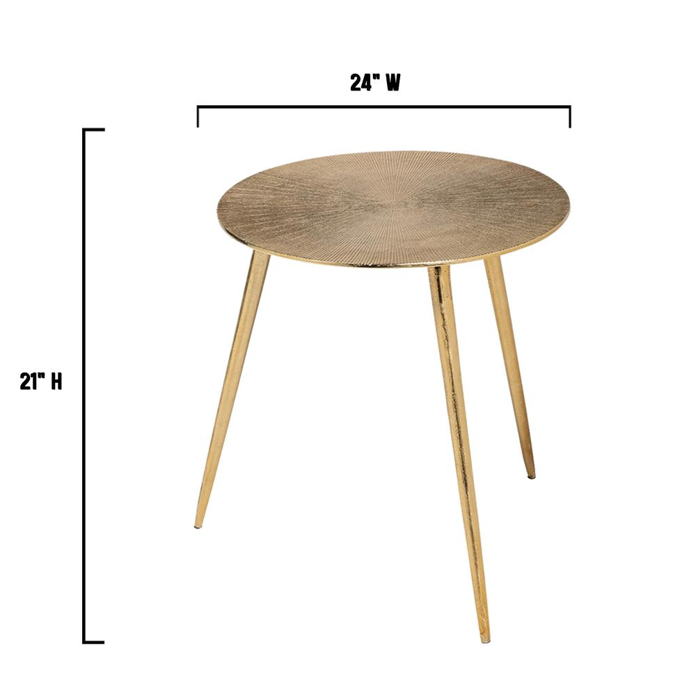 Large Gold Finish Round Starburst Accent Table - 380714. Picture 4