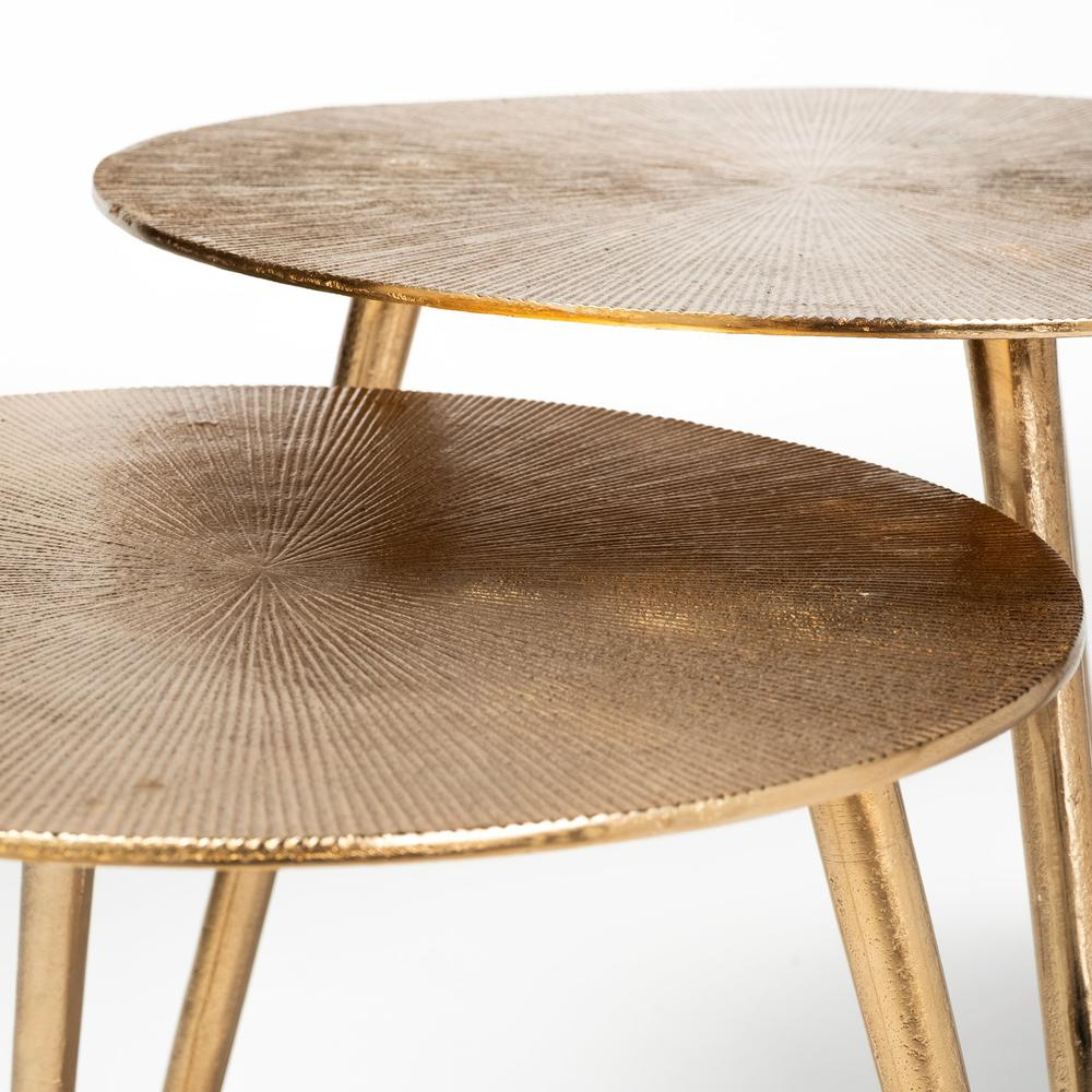 Large Gold Finish Round Starburst Accent Table - 380714. Picture 2
