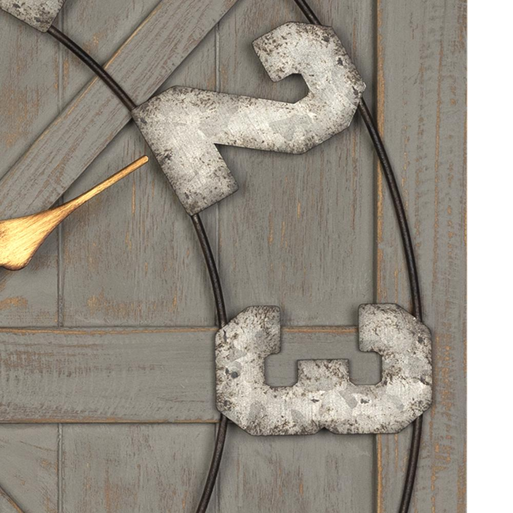 Distressed Circle Square Wood and Metal Wall Clock - 380769. Picture 1