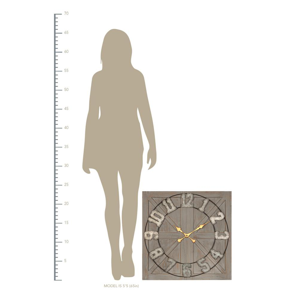 Distressed Circle Square Wood and Metal Wall Clock - 380769. Picture 2