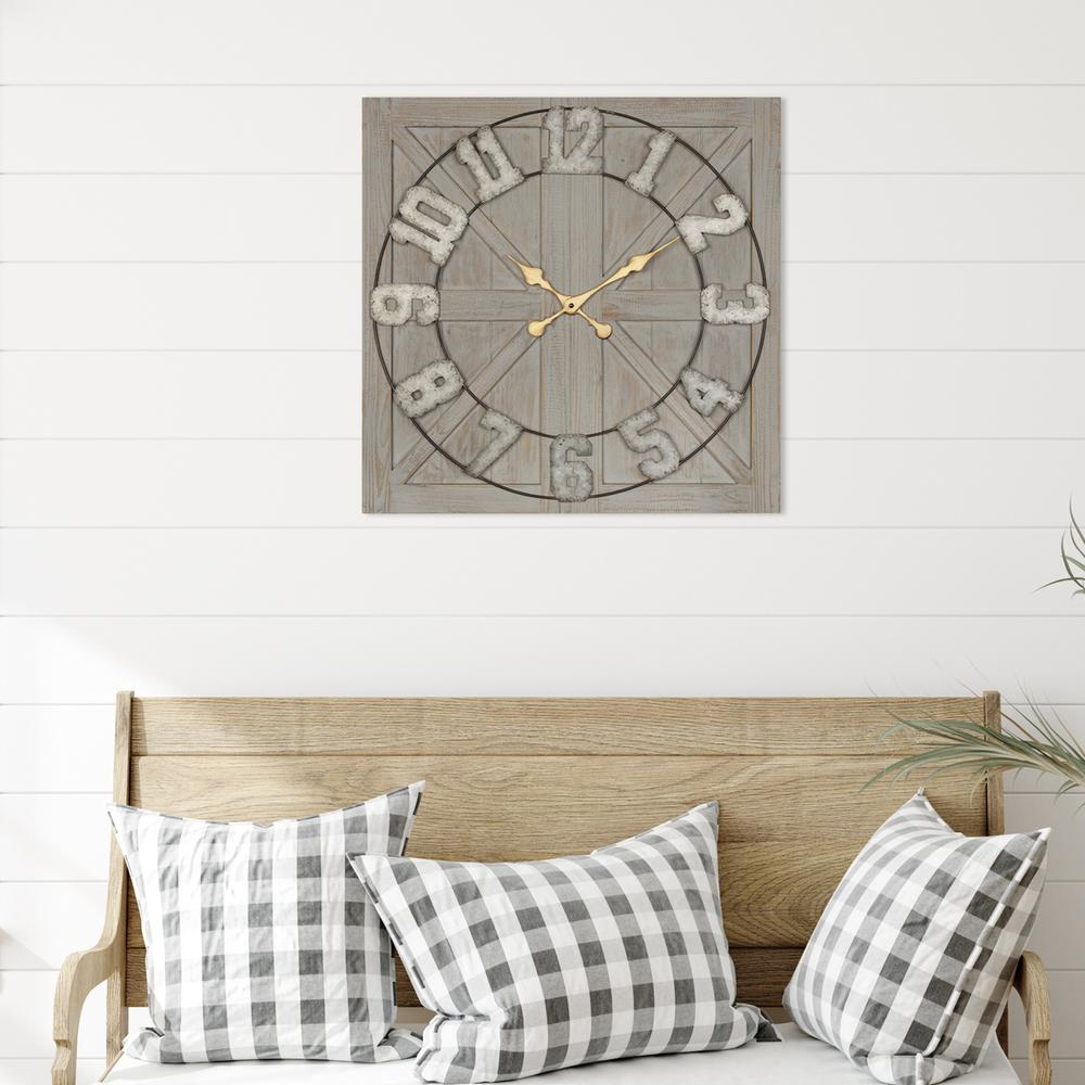 Distressed Circle Square Wood and Metal Wall Clock - 380769. Picture 4