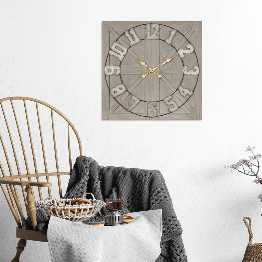Distressed Circle Square Wood and Metal Wall Clock - 380769. Picture 5
