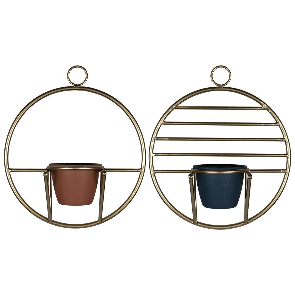 Set of 2 Gold Circular Wall Planters - 380770. Picture 1