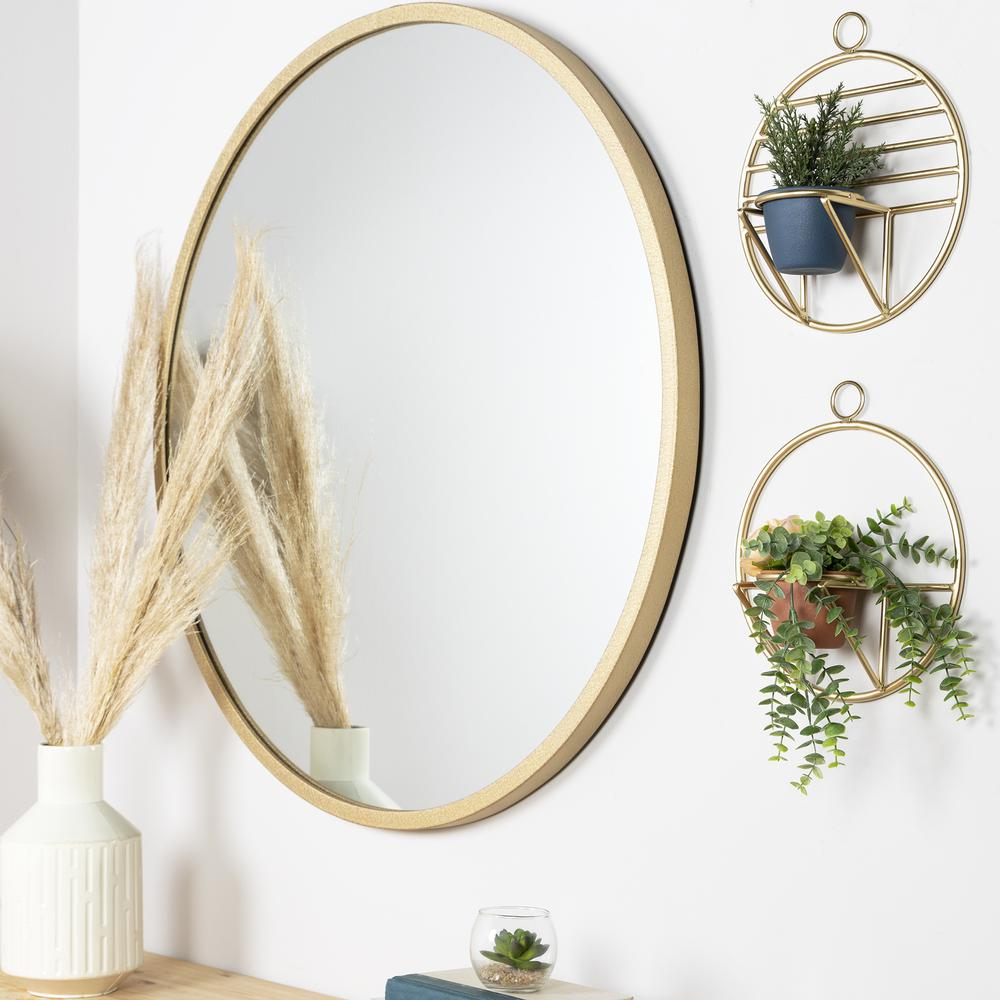 Set of 2 Gold Circular Wall Planters - 380770. Picture 2