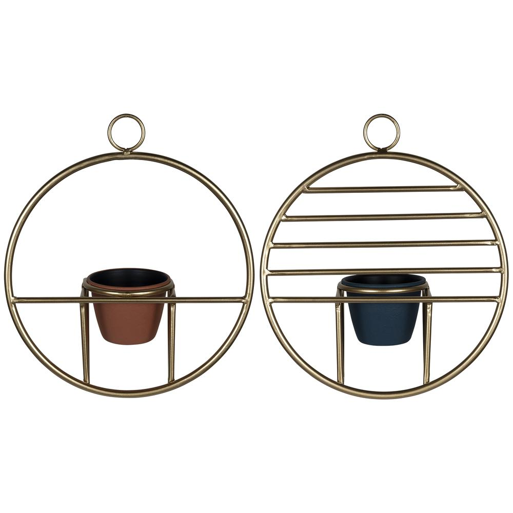 Set of 2 Gold Circular Wall Planters - 380770. Picture 5