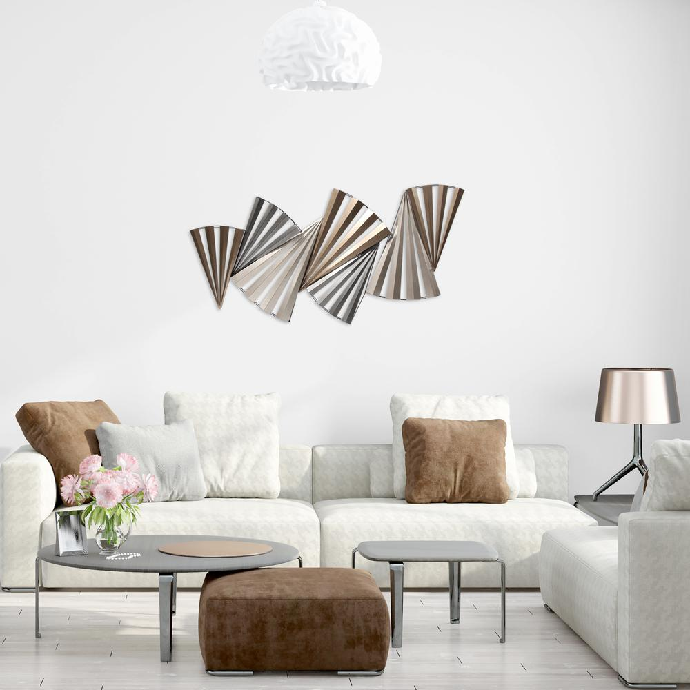 Modern Accordian Pleat Metal Wall Decor - 380771. Picture 2