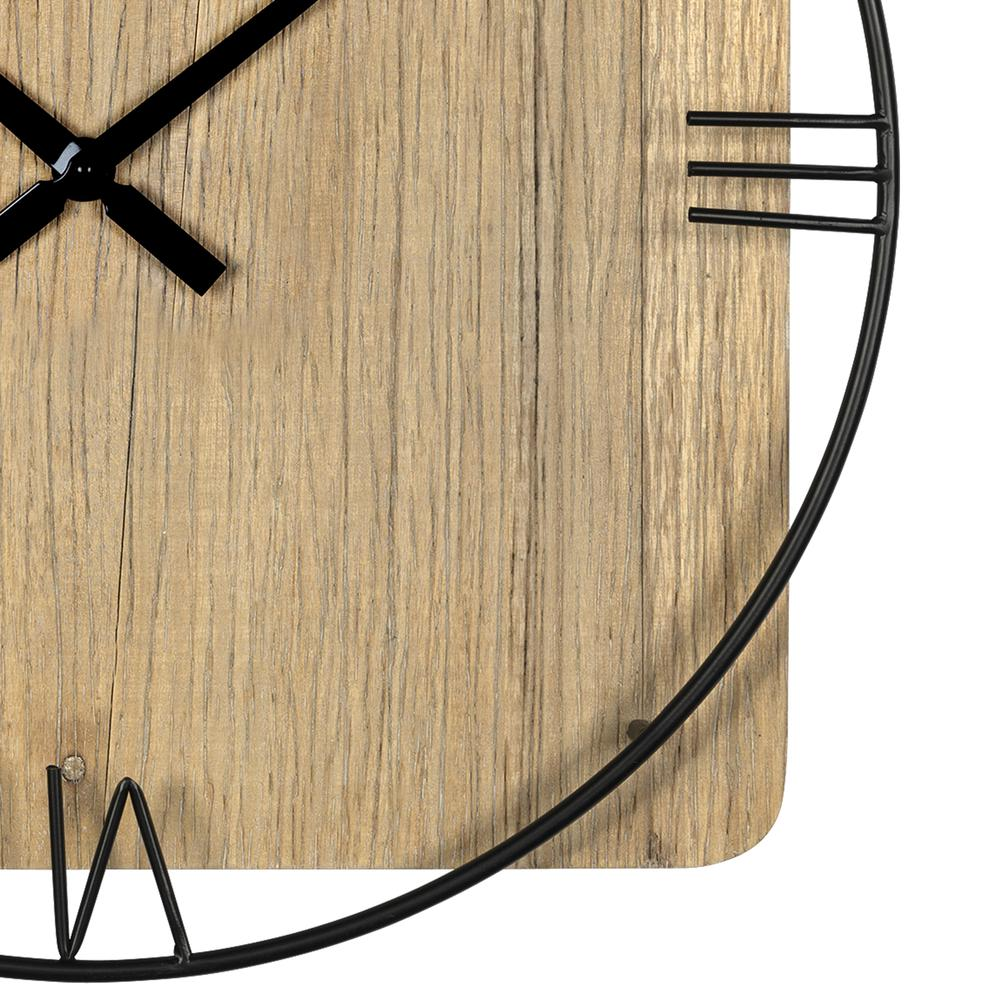 Minimalist Rustic Circle Square Wood and Metal Wall Clock - 380775. Picture 1