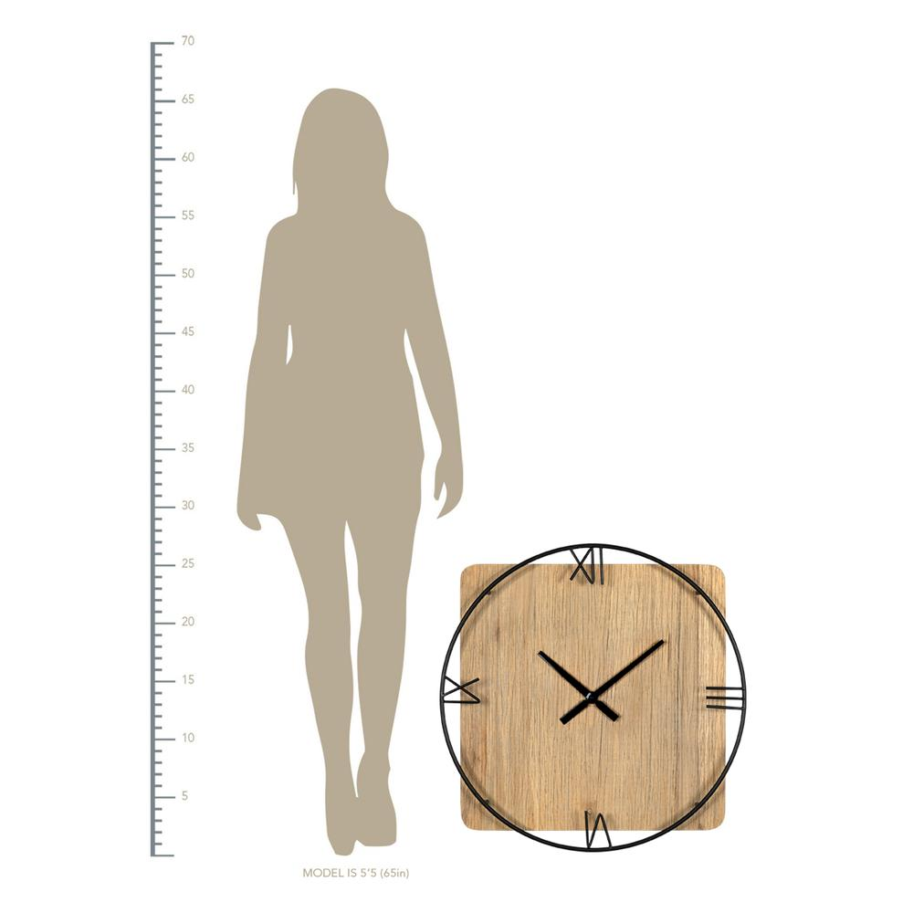 Minimalist Rustic Circle Square Wood and Metal Wall Clock - 380775. Picture 2