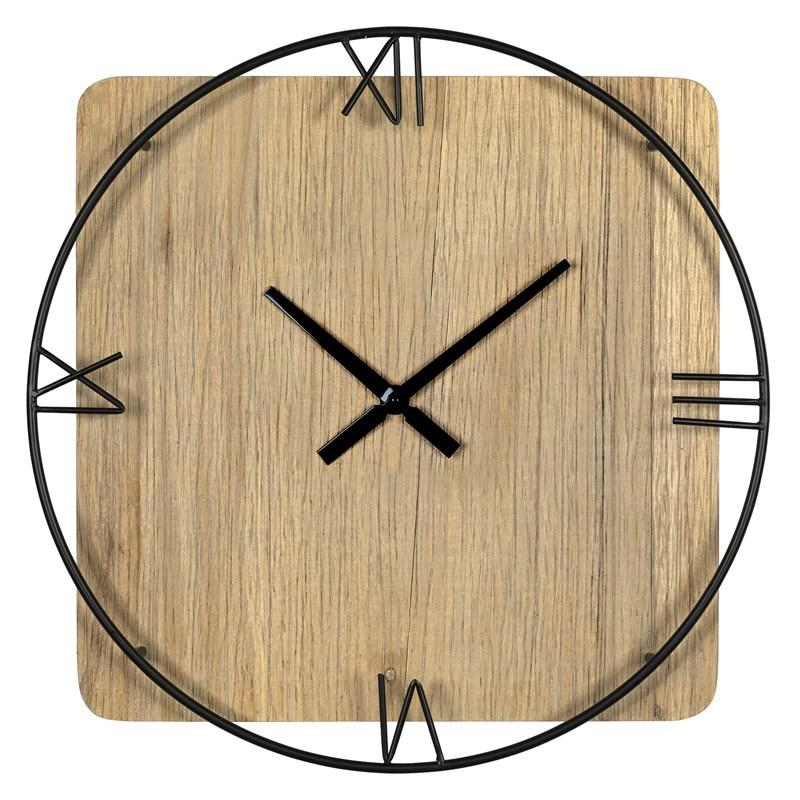 Minimalist Rustic Circle Square Wood and Metal Wall Clock - 380775. Picture 3