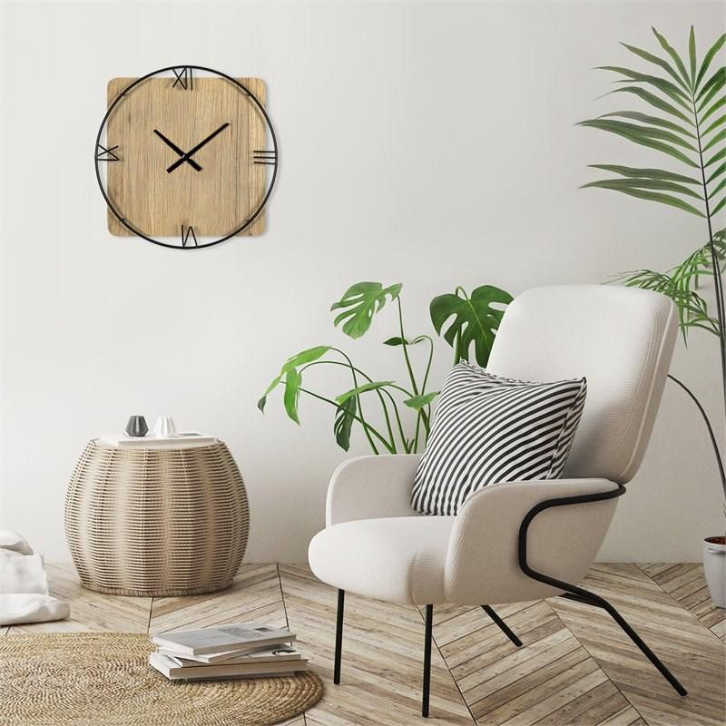 Minimalist Rustic Circle Square Wood and Metal Wall Clock - 380775. Picture 4