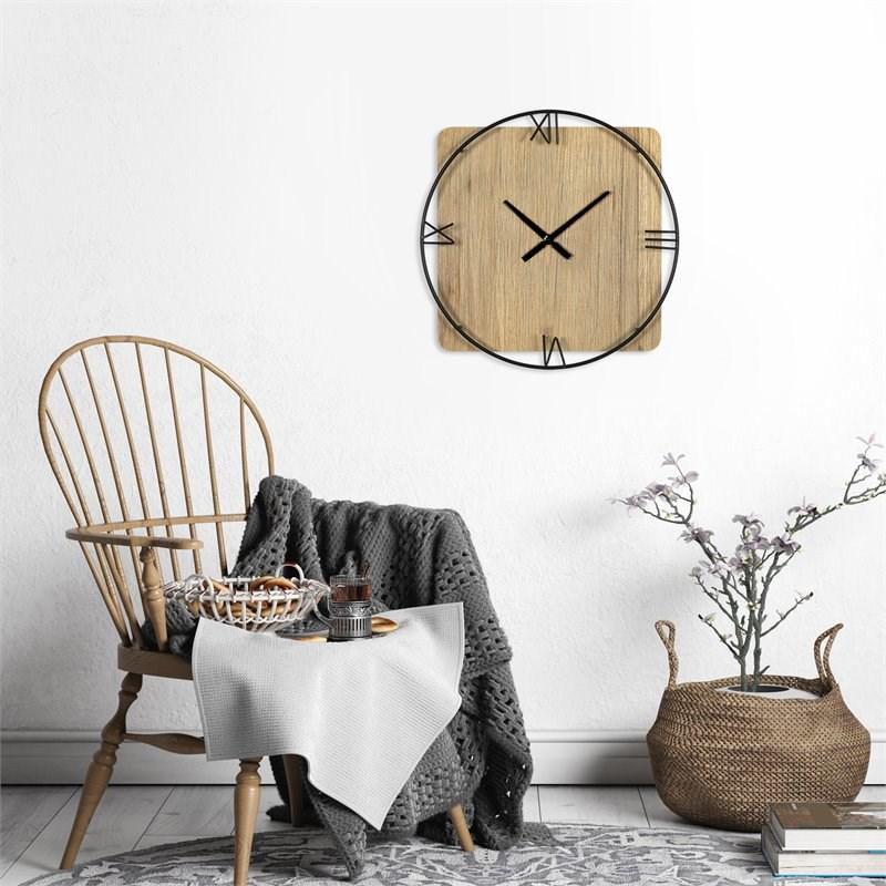 Minimalist Rustic Circle Square Wood and Metal Wall Clock - 380775. Picture 5