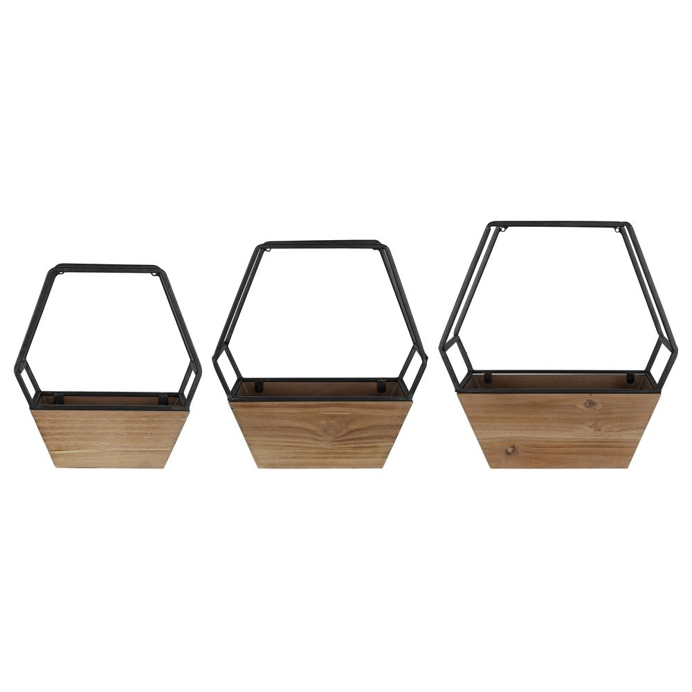 Set of 3 Boho Cool Hexagon Wall Planters - 380783. Picture 1