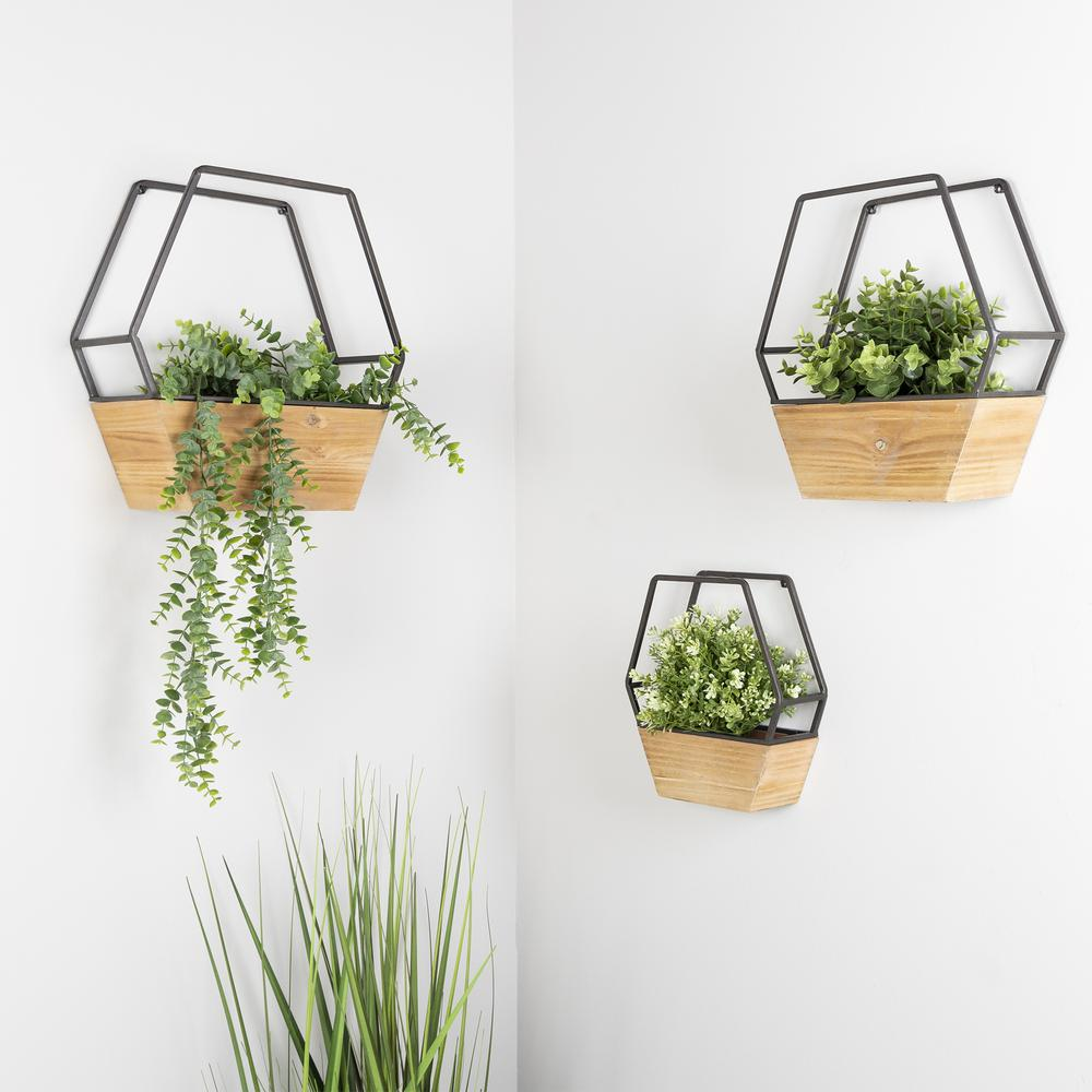 Set of 3 Boho Cool Hexagon Wall Planters - 380783. Picture 2