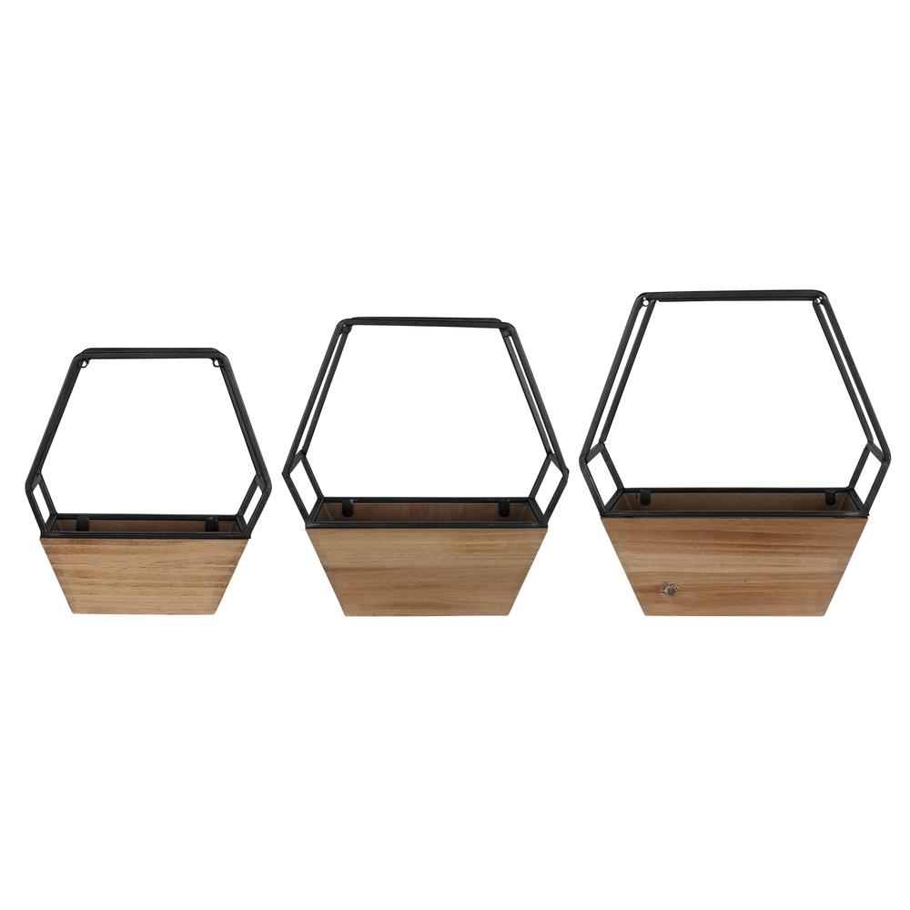 Set of 3 Boho Cool Hexagon Wall Planters - 380783. Picture 5
