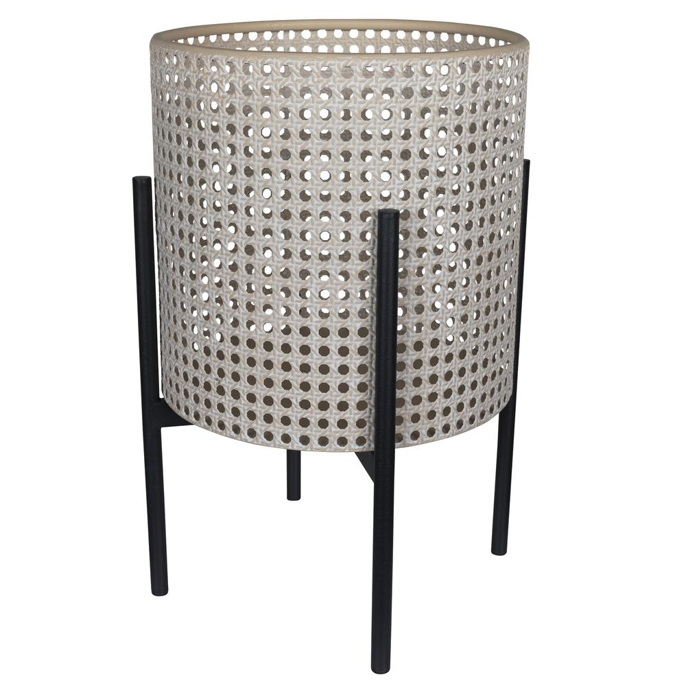 Black and Beige Cane Webb Metal Planter - 380787. Picture 1