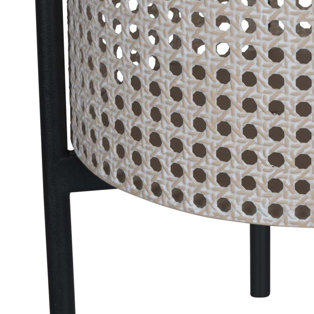 Black and Beige Cane Webb Metal Planter - 380787. Picture 2