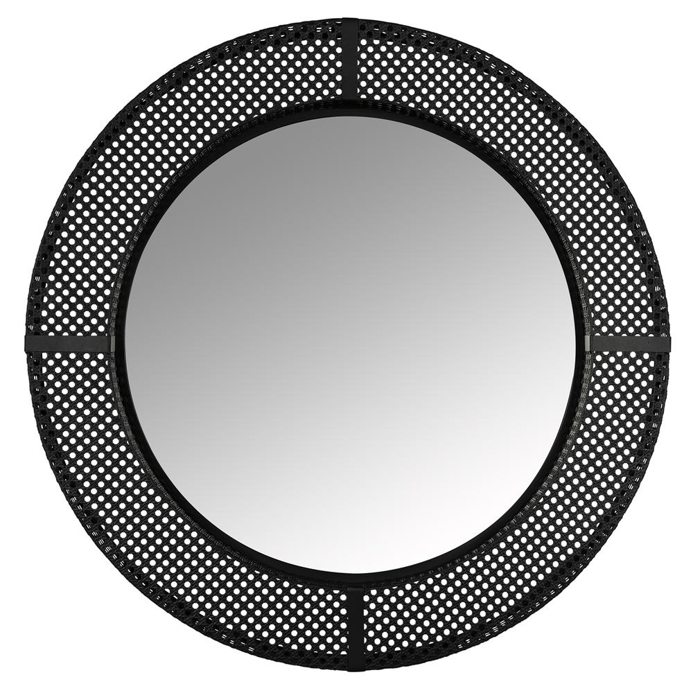 Black Metal Cane Webbing Round Wall Mirror - 380790. Picture 1