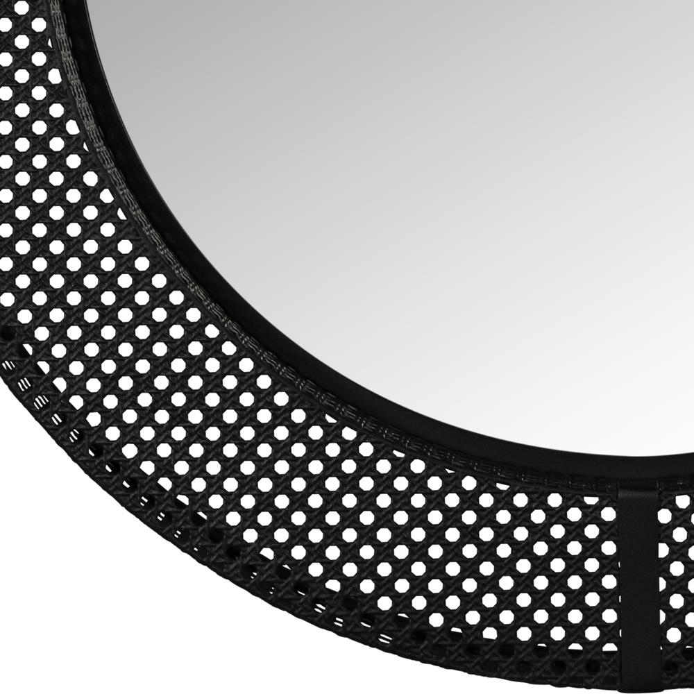 Black Metal Cane Webbing Round Wall Mirror - 380790. Picture 2