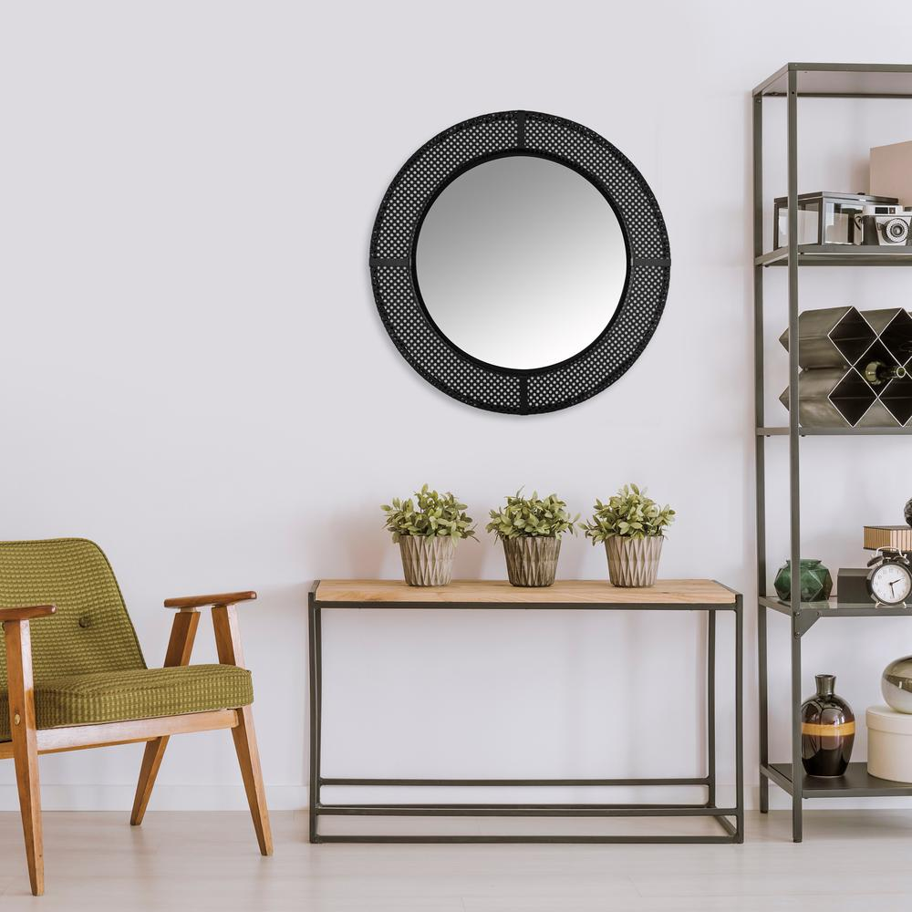 Black Metal Cane Webbing Round Wall Mirror - 380790. Picture 4