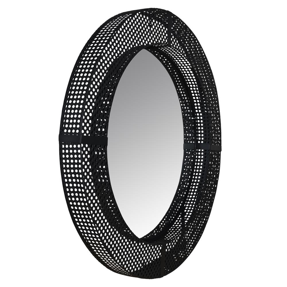 Black Metal Cane Webbing Round Wall Mirror - 380790. Picture 5