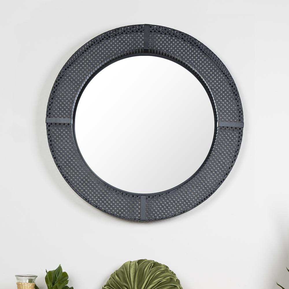 Black Metal Cane Webbing Round Wall Mirror - 380790. Picture 6