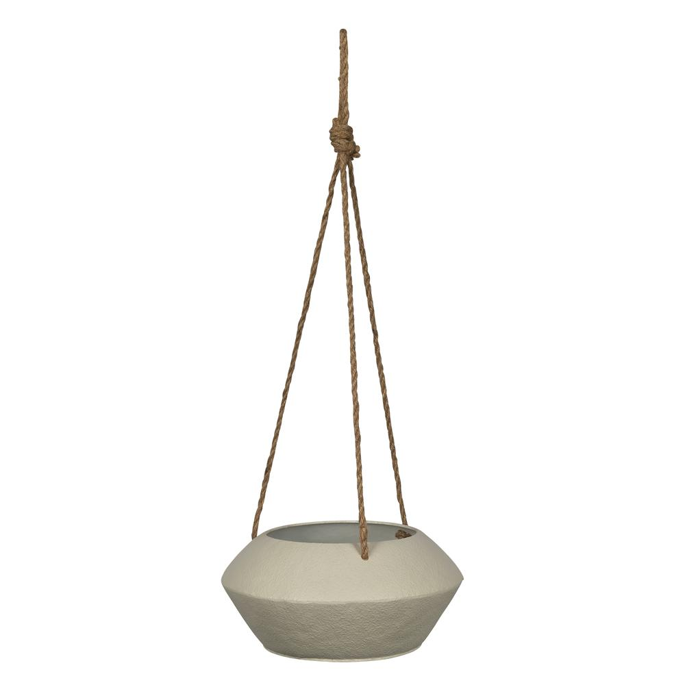 Light Grey Metal Hanging Rope Planter - 380791. Picture 1