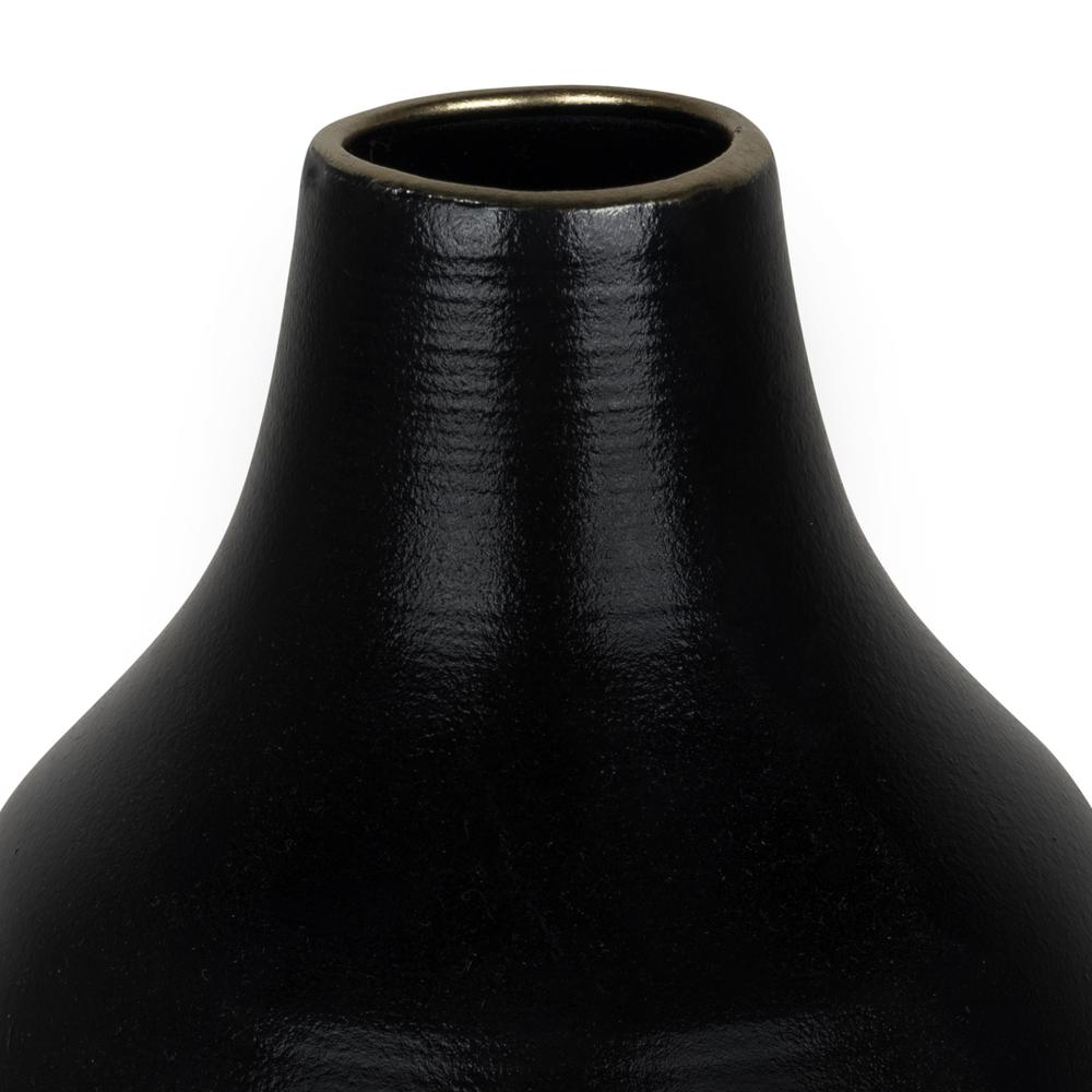 Dora Small Cement Gray and Black Dipped Vase - 380797. Picture 2