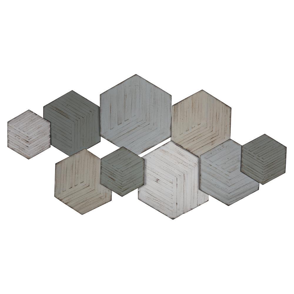 Contemporary Textured Hexagonal Metal Wall Decor - 380800. Picture 1