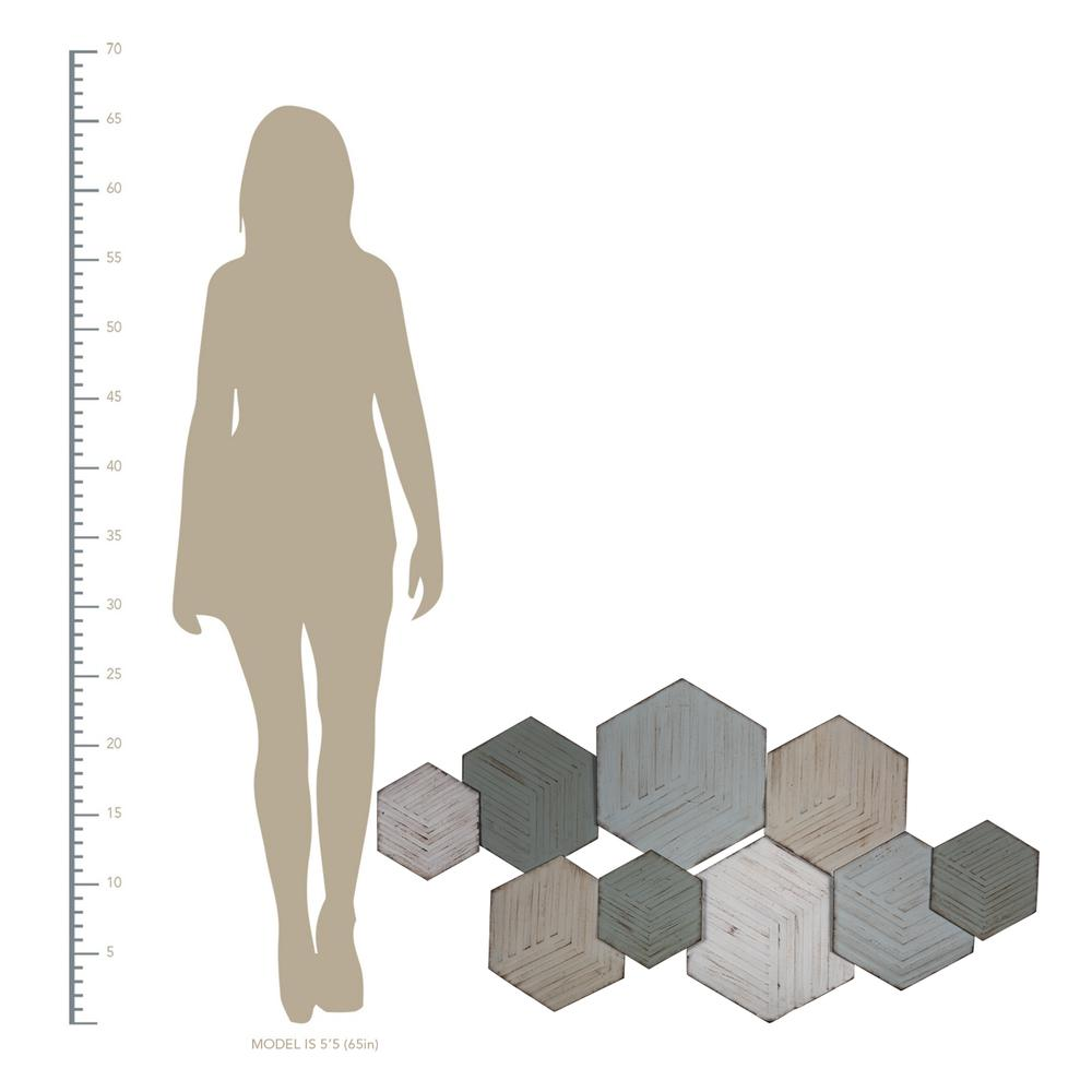 Contemporary Textured Hexagonal Metal Wall Decor - 380800. Picture 2