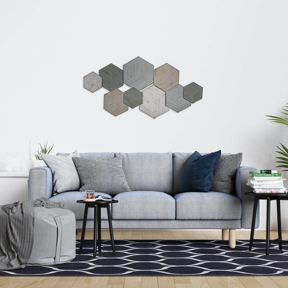 Contemporary Textured Hexagonal Metal Wall Decor - 380800. Picture 4