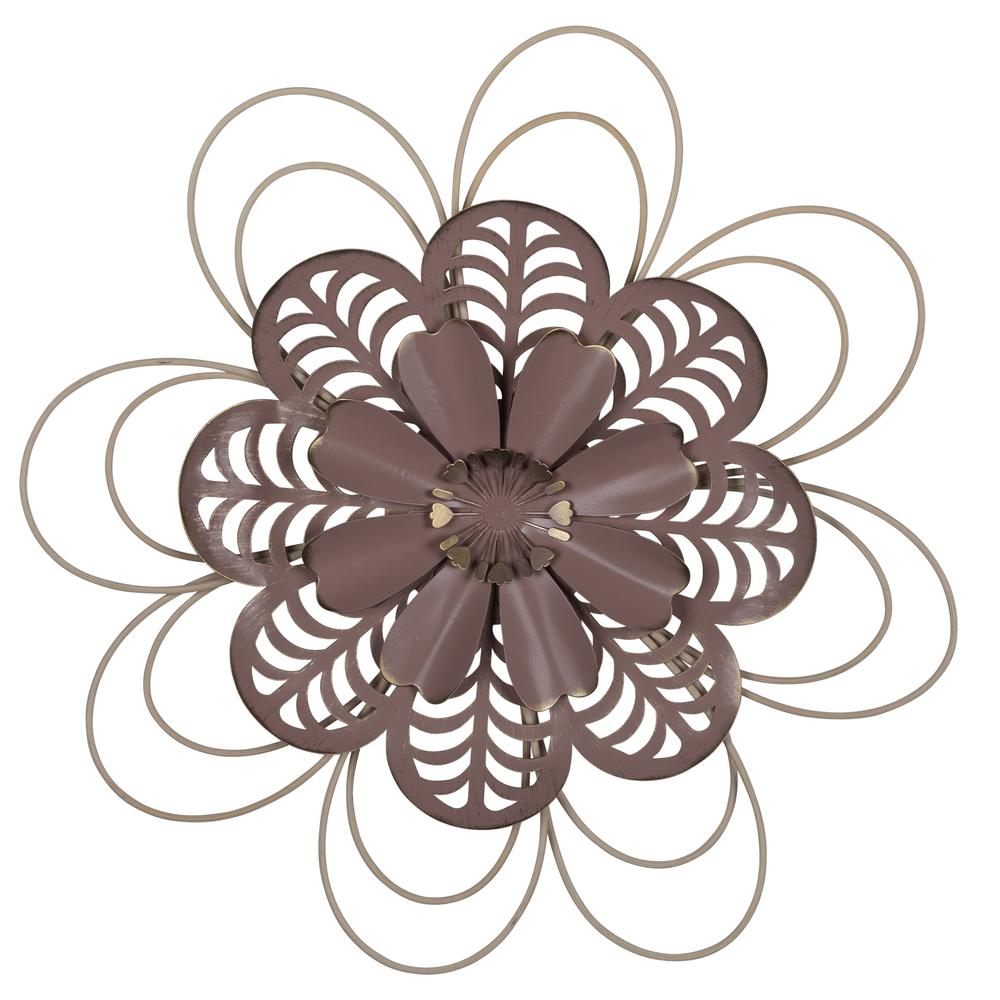 Deep Mauve Finish Metal Flower Wall Decor - 380804. Picture 1