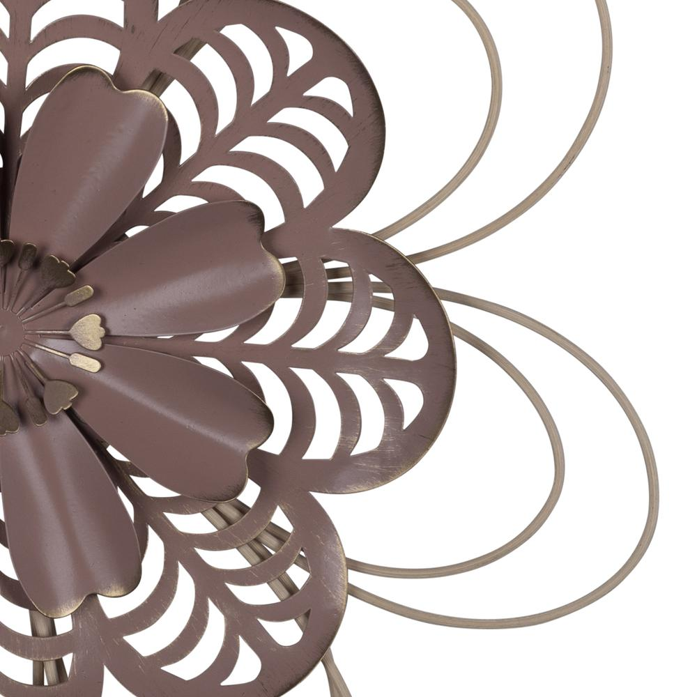 Deep Mauve Finish Metal Flower Wall Decor - 380804. Picture 2