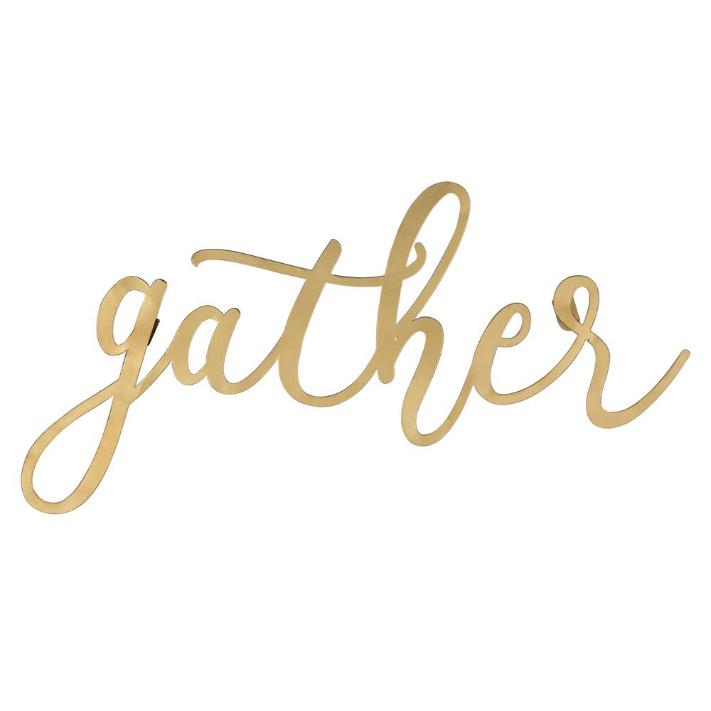 Gold Metal Gather Script Wall Decor - 380807. Picture 1