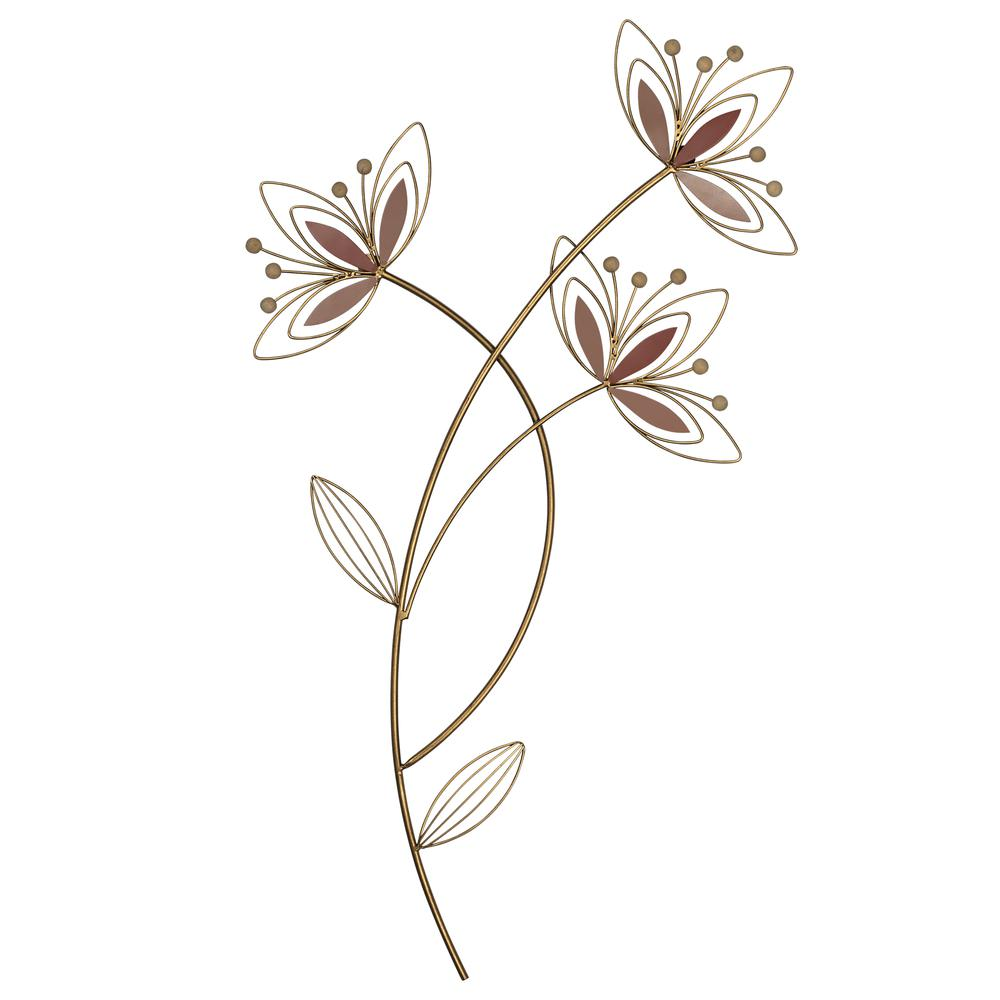 Deep Mauve Finish Metal Flowers Wall Decor - 380811. Picture 1