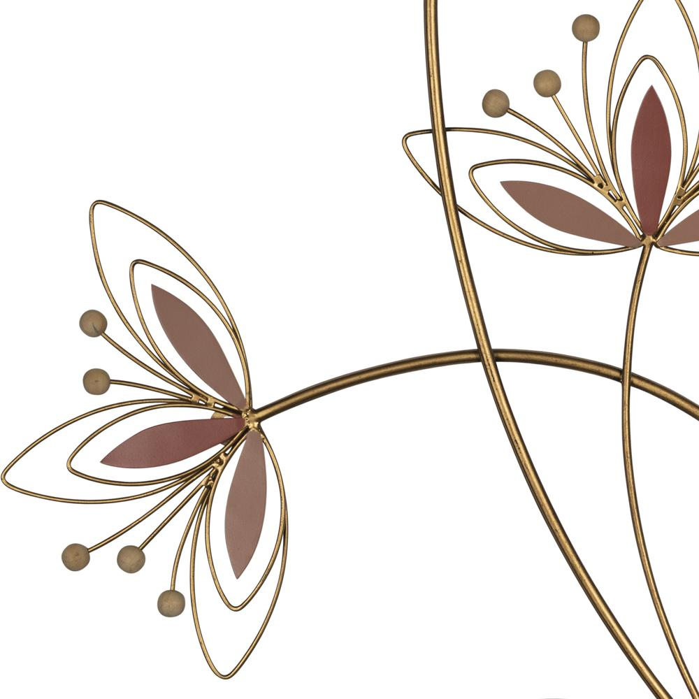 Deep Mauve Finish Metal Flowers Wall Decor - 380811. Picture 3