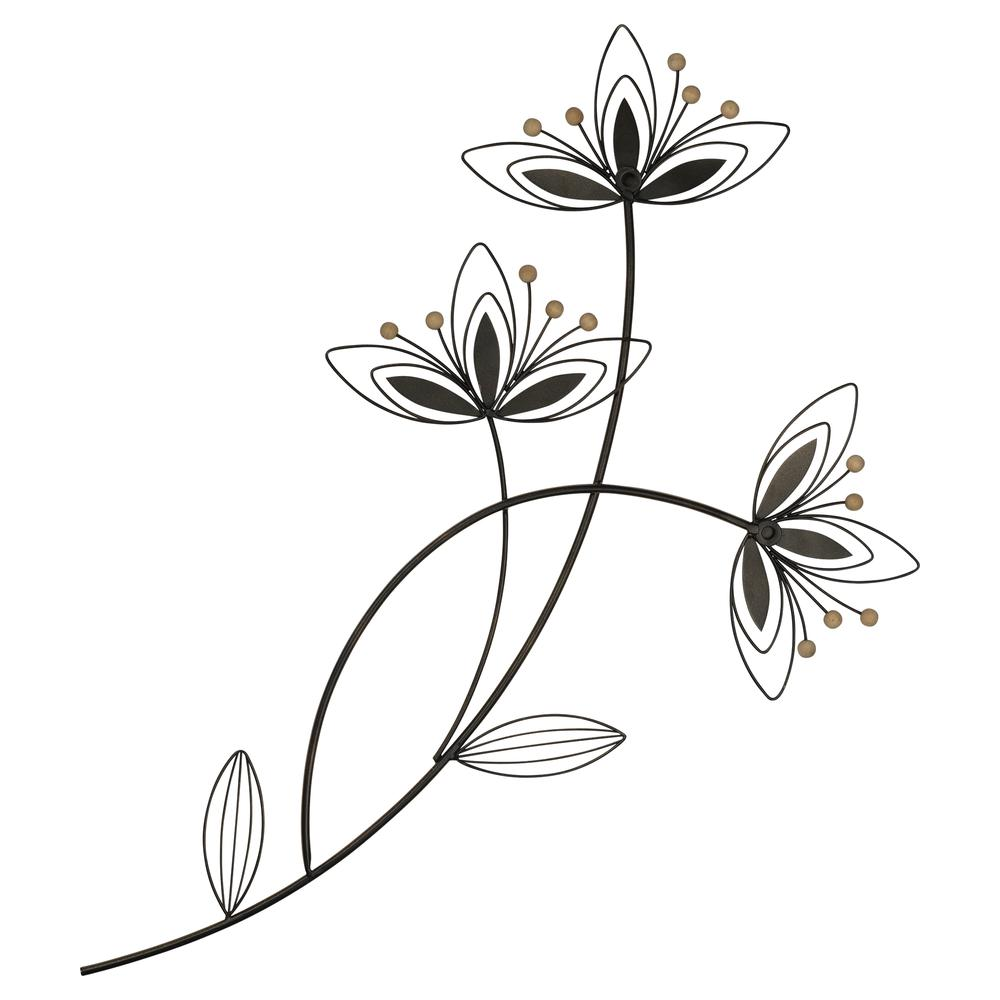 Deep Mauve Finish Metal Flowers Wall Decor - 380811. Picture 5