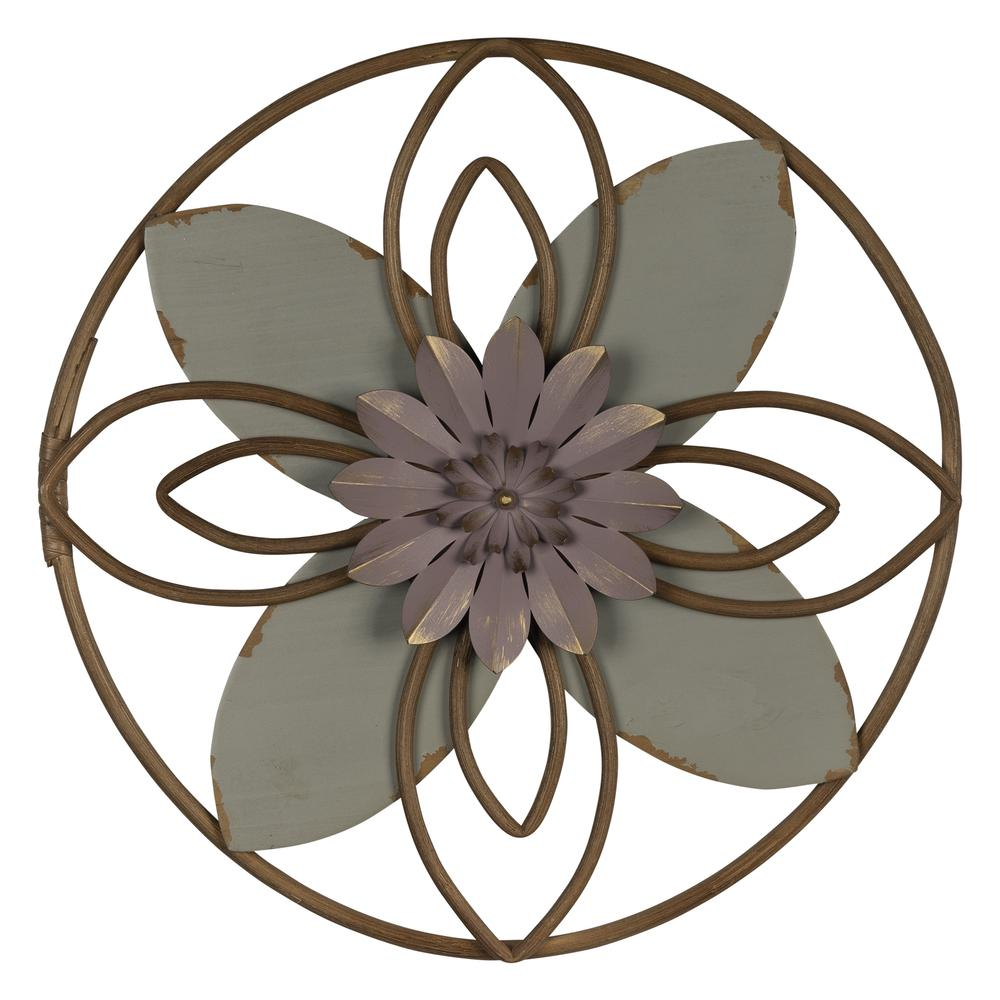 Grey and Pink Metal Flower Medallion Wall Decor - 380813. Picture 1
