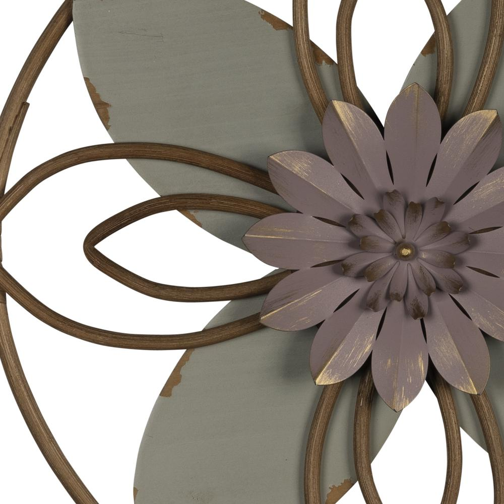 Grey and Pink Metal Flower Medallion Wall Decor - 380813. Picture 3