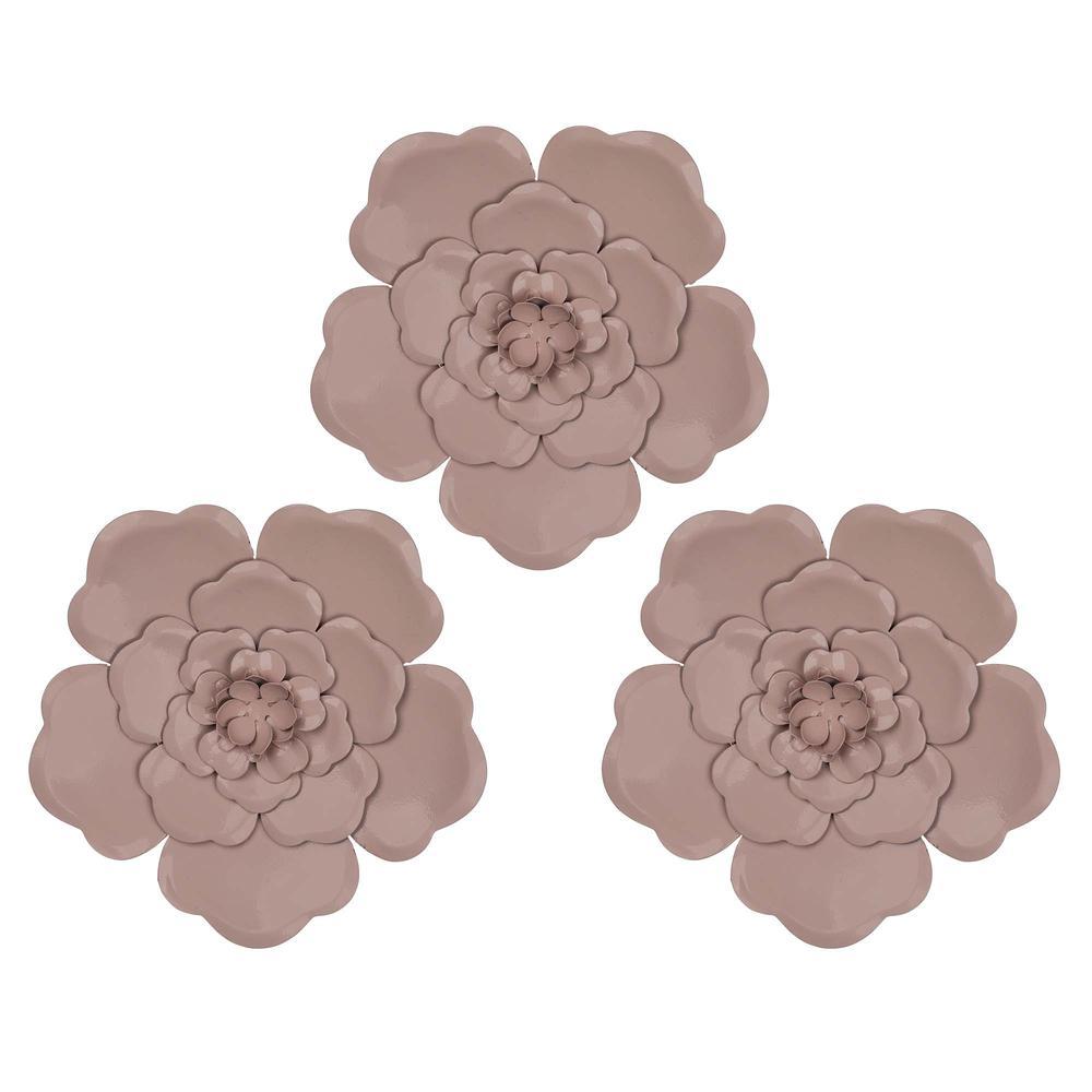 Set of 3 Metallic Mauve Flowers Wall Décor - 380815. Picture 1