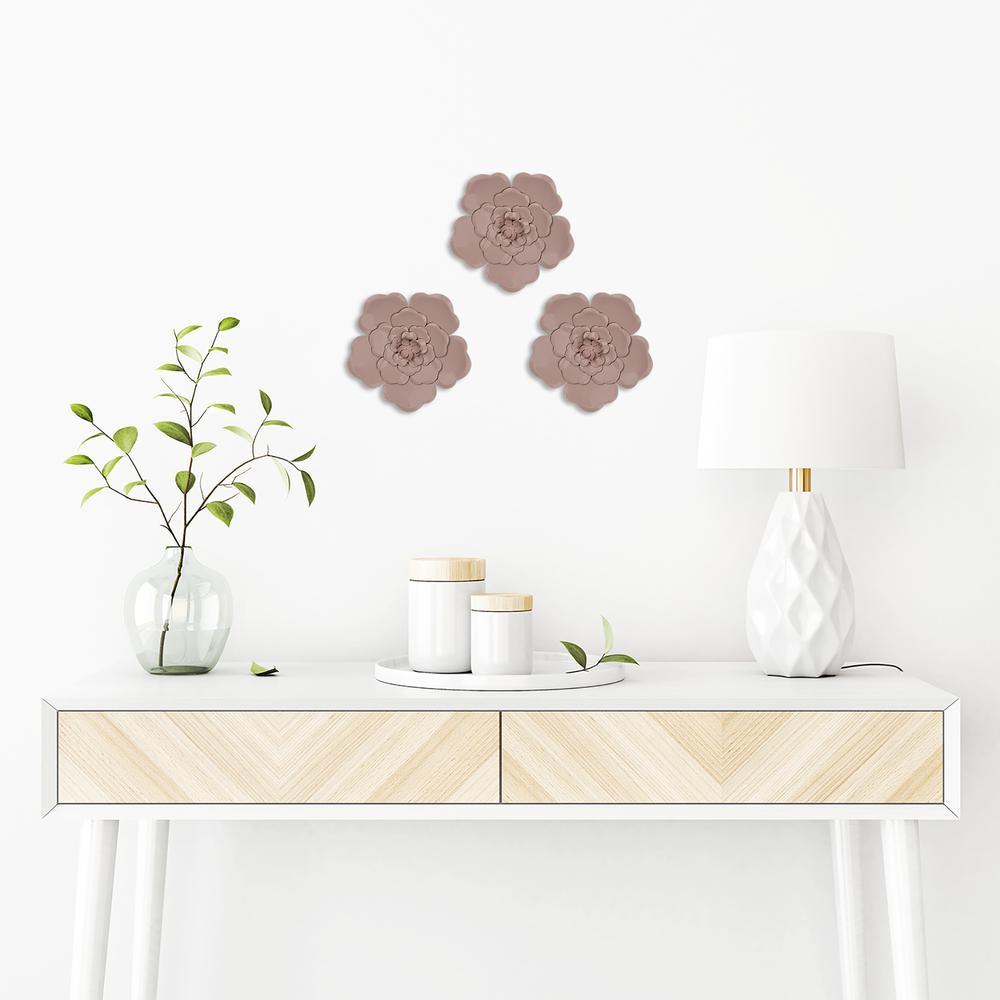 Set of 3 Metallic Mauve Flowers Wall Décor - 380815. Picture 2